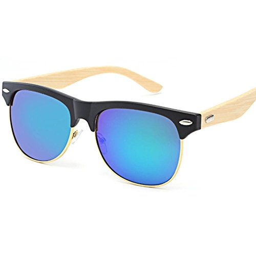 TOOPOOT 2018 Vintage Retro Unisex Eyes Shades Sunglasses Polarized Bamboo Frame Outdoor - Small Sunglasses Aviator Square