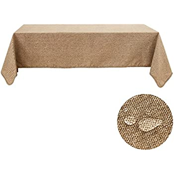 Deconovo Curry Tablecloth Recycle Cotton Soft Waterproof Tablecloths For Rectangle Tables 52 x 70 Inch Curry