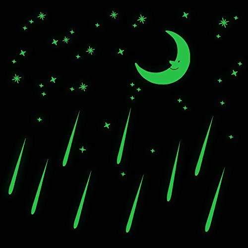Glow In The Dark Moon and Meteors Fluorescent Wall Stickers For Kids Bedroom Gift Beautiful Glowing Wall - Gifts Meteor