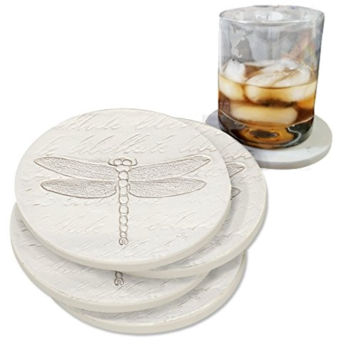Drink Coasters by McCarter Coasters, Dragonfly, Absorbent, Light Beige 4.25 inch (4pc) ()