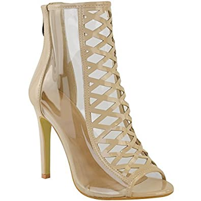 894331d6f217a9 Womens Ladies High Heel Perspex Clear Sandals Celebrity Designer Shoes Size  New