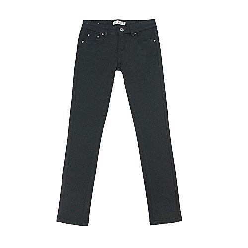 Teen G's Big Girls Uniforms Stretch Twill Classic Skinny Pants KP22 (8, Black) by Teen G's