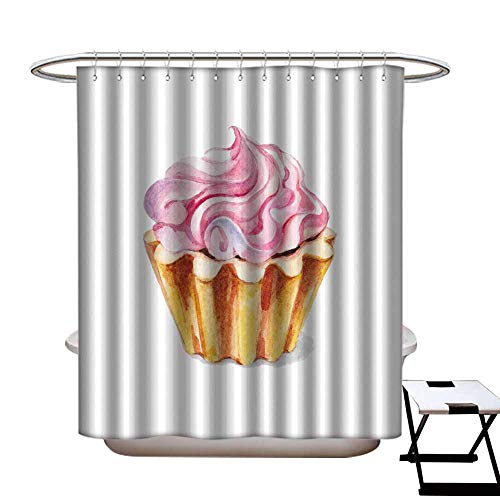 warmfamily Shower Curtain Art Print Polyester Watercolor Illustration Background Cupcake Cream Shower CurtainW72 x L84