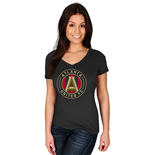 Atlanta United FC MLS Women's Team Logo T-Shirt Black (Inside Out Ladies T-shirt)