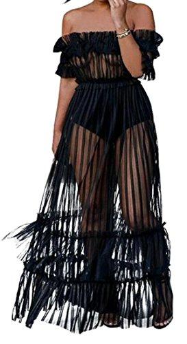 Cromoncent Femmes Au Large De L'épaule Robe Maxi Grande Maille Transparent Taille Empire Pendule Cocktail Noire