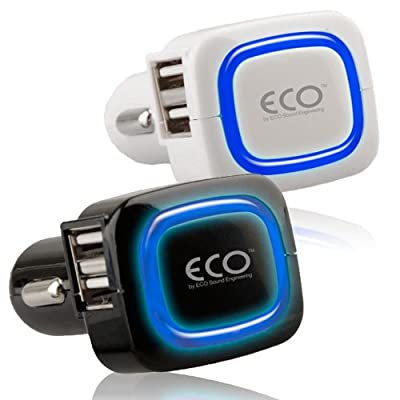 New ECO Sound Quad USB Vehicle Car Charger 4.0A White/Black