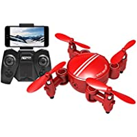 Gotd RC Quadcopter Drone Wifi 0.3MP Camera 2.4 4CH 6-Axis Gyro 3D UFO FPV RC Foldable Quadcopter with Colorful LED lights, Red
