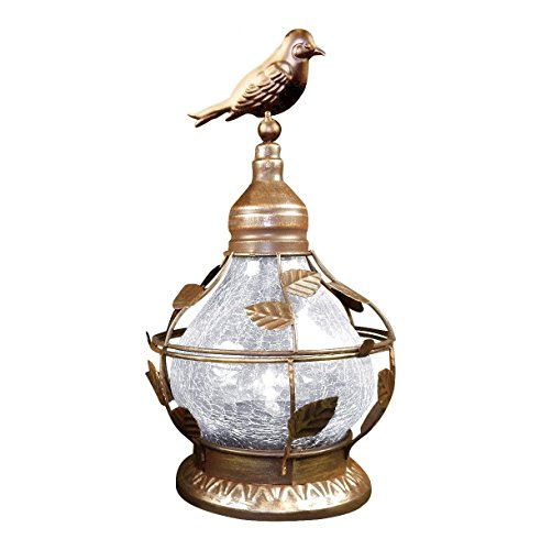 Solar Table Top Lamp, Bird Theme With Rotating Light, Crackled Glass - Bronze. by Tom David Lewis