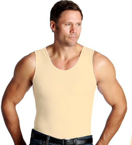 Insta Slim Mens Compression Muscle Tank T-Shirt (X-Large, Nude), The Magic is in The Fabric!