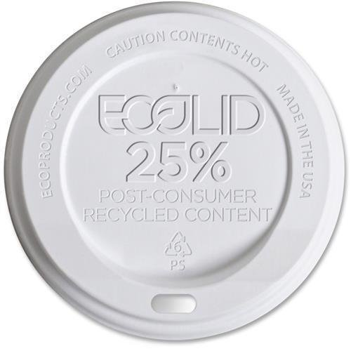 EPHL16WR Eco-Products EcoLid Recycled Large Hot Cup Lids - Polystyrene - 1000 / Carton - White