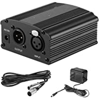 Techblaze 48V Audio Interface Phantom Power Supply with Adapter, BONUS+XLR 3 Pin Microphone Cable for BM 800 & Any Condenser Microphone Music Recording Equipment Phantom Power For Microphone Recording