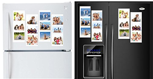 "White Magnetic Picture Frames Collage for Refrigerator, School Locker, or any Magnetic Surface. Holds and Protects 12 – 4"" x 6"" Photos. 4-Pack. Each Frame Holds 3 Photos. Arrange Your Way."