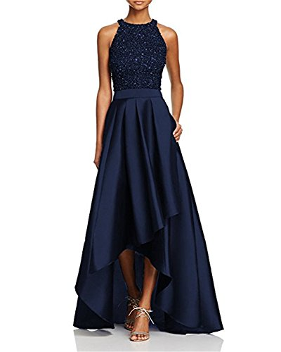 Staypretty O Neck Beaded High Low Satin Prom Party Dress Strapless Long Women Modest Evening Gown Navy Blue 16