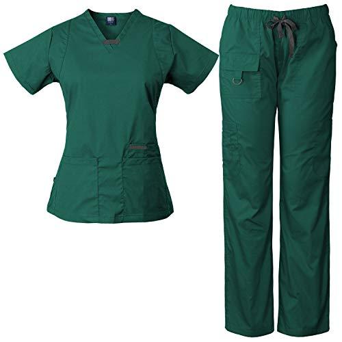 Medgear Womens Scrub Set Utility 4 Pocket top, 7 Pocket 2043 Pant with D-Ring (Hunter, XL) ()