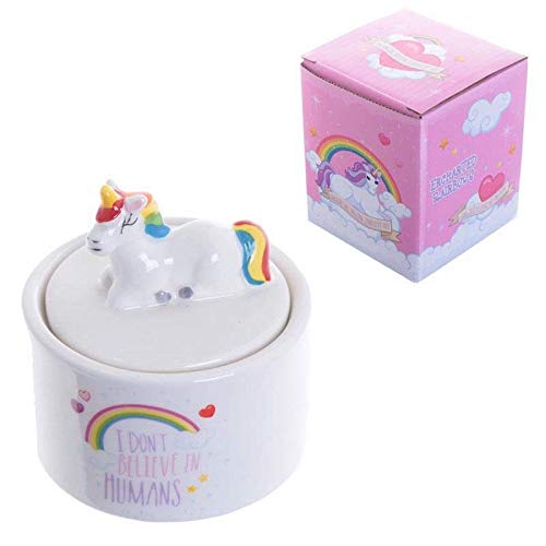 Rainbow Unicorn Ceramic Trinket Box - Ideal Any Dressing Table Complete Gift Box
