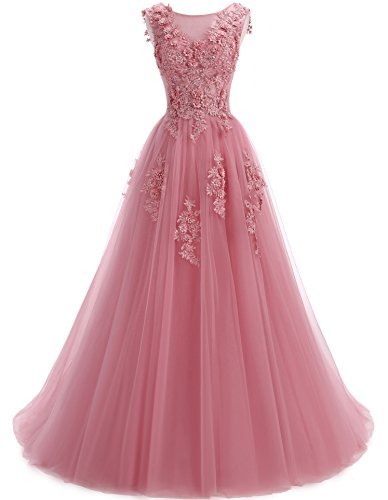 Ever Girl Women's Sweep Lace Appliques Scoop Collar Tulle A-Line Prom Dresses Pale Mauve (A-line Scoop Sweep)