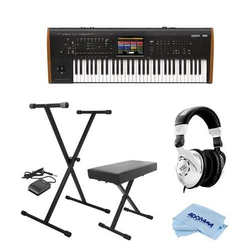 Korg Kronos 61 Key Music Workstation with SGX-2 Engine, Kronos System Version 3.0 – Bundle with On-Stage Keyboard Stand/Bench Pack with Sustain Pedal, Behringer HPS3000 HP Studio Headphones, Cloth