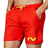 NUWFOR Men's Summer Casual Sport Pattern Loose Beach Quick-Drying Short Pants(Red,US M Waist:28.35-32.28'')