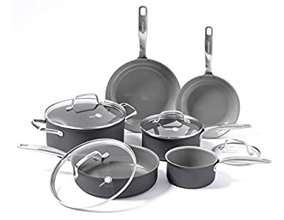 GreenPan Chatham ceramic Non-Stick 10Pc Cookware Set, Grey