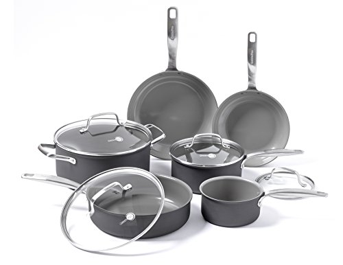 (GreenPan Chatham ceramic Non-Stick 10Pc Cookware Set, Grey)