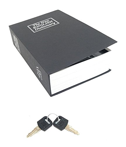 Book Safe Box - Large - Black - Dictionary Diversion Lock Box with Key Closing - Portable Book Safe - Store Money, Jewelry, and other Documents - Perfect for Home or when Traveling