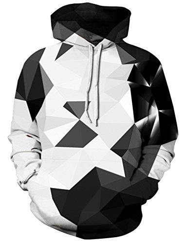 - AMOMA Unisex Realistic 3D Digital Print Pullover Hoodie Hooded Sweatshirt (Small/Medium, Black White Triangle)