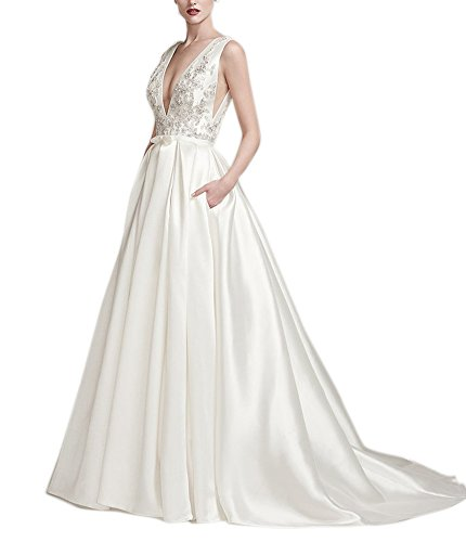 Womens Long Bridal Bridal Wedding V Dress Neck Gown Lace Pockets Ivory Amore Beading 5ga6a