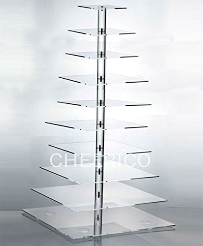 10 Tier Large Square Maypole Wedding Acrylic Cupcake Stand Tree Tower Cup Cake Display
