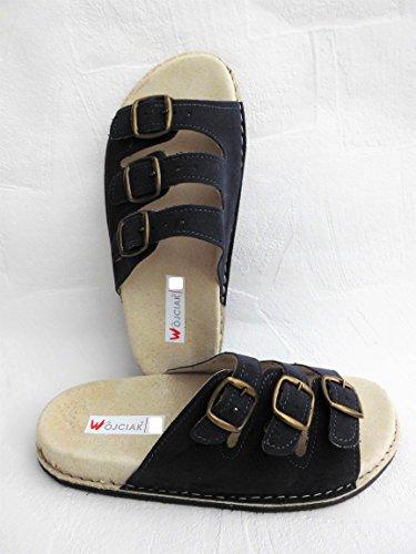 Lusy011 Sandalen - Pantolette - Hausschuhe -Sandaletten Gr.36, 37, 38, 39, 40, 41, 42, Wildleder Dunkel Blau (PL.21-3-5-00)