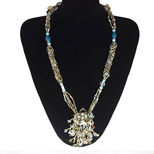 Ice Bijoux Turquoise Beads with Shells Necklace For Women Y Drop Long Necklace 27.5' Malaysia Collection by Ice Bijoux (Image #1)