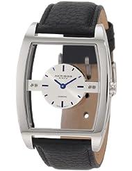 Akribos XXIV Mens AKR432BK Swiss Quartz Diamond Floating Silver Dial Watch