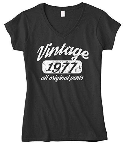 Cybertela Women's 41th Birthday Gift Vintage 1977 All Original Parts Fitted V-Neck T-Shirt (Black, Large)