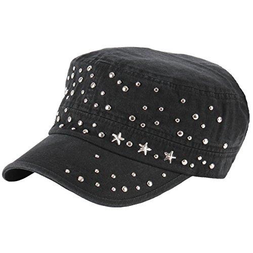 RaOn A135 Star Stud Punk Rock Metal Club Biker Hunting Army Cap Cadet Military Hat (Black)