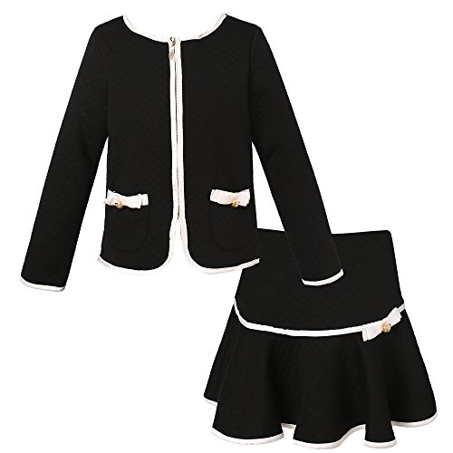 Richie House Girls' Elegant Knit Suit with Skirt RH1963-B-11/12