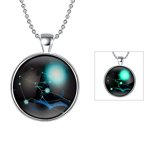 iCAREu Silver Plated Necklace with a Fluorescent Signs of The Zodiac Pendant, - Hours White Mall Plains
