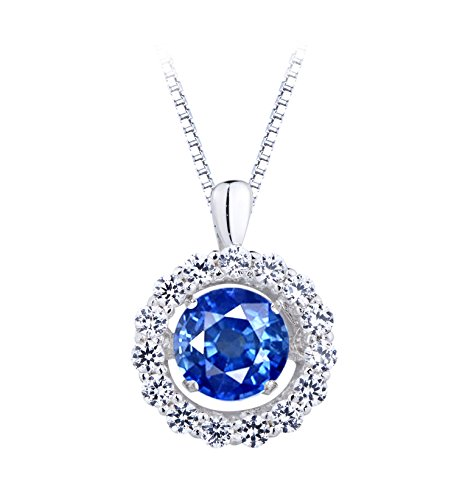 klace, Lab Created Blue and White Sapphire in Sterling Silver with 18