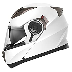 Motorcycle Modular Full Face Helmet DOT Approved - YEMA YM-925 Motorbike Moped Street Bike Racing Crash Helmet with Sun Visor for Adult, Men and Women - White, Medium