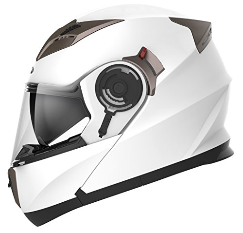 Snell Dot - Motorcycle Modular Full Face Helmet DOT Approved - YEMA YM-925 Motorbike Moped Street Bike Racing Crash Helmet with Sun Visor for Adult, Men and Women - White, Medium