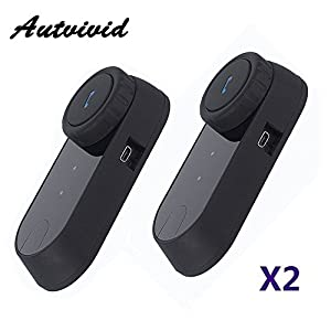 Autvivid 2 x 800M Water Resistant Bluetooth Motorcycle Motorbike Helmet Intercom Interphone Headset for 2 or 3 riders and Audio for Walkie Talkie MP3 player GPS Hands Free & FM Radio (VB-02)