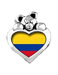 Colombia flag Peridot Crystal August Birthstone I Love You Heart Care Bear Charm Beads Bracelets