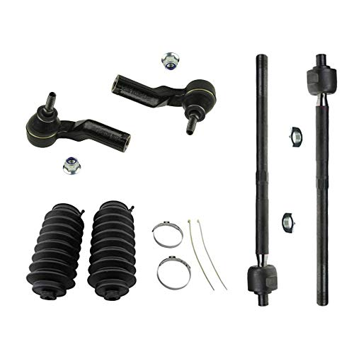 Detroit Axle - 6PC Front Inner and Outer Tie Rod End Links w/Rack Boots for 2008-2013 Volvo C30 - [2006-2013 C70] - 2005-2011 S40/V50 ()