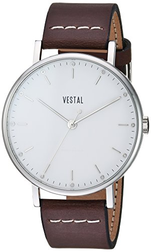 Vestal 'Sophisticate' Swiss Quartz Stainless Steel and Leather Dress Watch, Color:Brown (Model: SP42L01.DBWH)