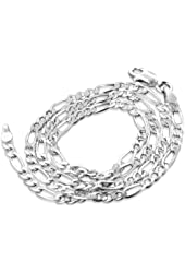"""Diamond-Cut 3mm Wide Sterling Silver Figaro Chain Necklace Italian(Lengths 16"""",18"""",20"""",22"""",24"""",30"""",36"""")"""