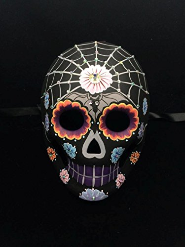 Day of the Dead Masquerade Mask - Dia De Los Muertos Black w/ Spiderweb Halloween Mask (Day Of Dead Mask)