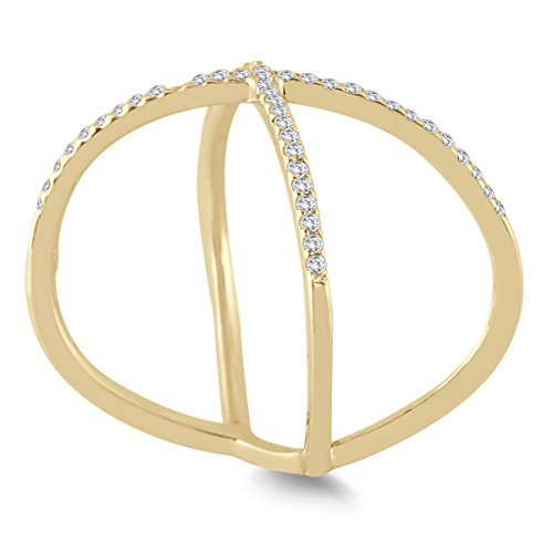 AGS Certified 1/2 Carat TW Diamond Criss Cross X Ring in 10K Yellow Gold (K L Color, I2 I3 Clarity)