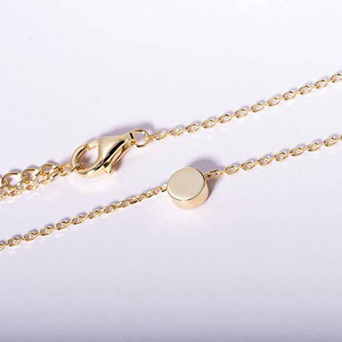 S.Leaf Gold Tiny Dot Necklace Sterling Silver Ball Pendant Circle Necklace (gold) by S.Leaf (Image #4)