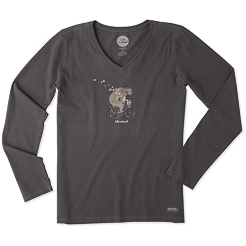 [Life is good Women's Crusher Vee Long Sleeve Bike Bear Flowers Ngtblk T-Shirt, Night Black, X-Large] (Bicycle Womens T-shirt)