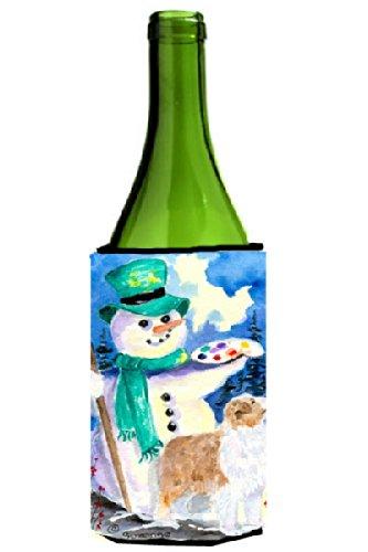 Snowman Bottle Hugger - Snowman with Australian Shepherd Wine Bottle Beverage Insulator Beverage Insulator Hugger