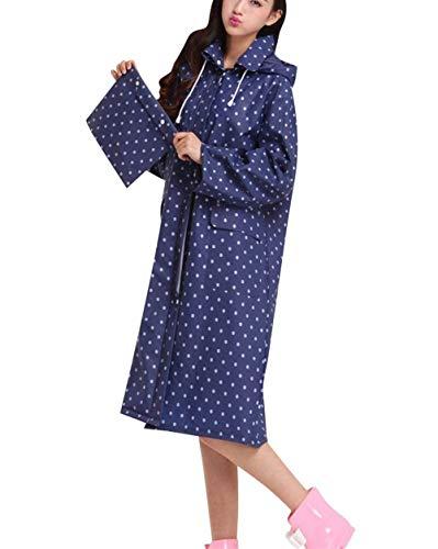 Traspirante Poncho Donna Impermeabile Antipioggia Semplice Cappuccio Blau Punkt Con Giacca Glamorous Da Haidean Leggera wvPxxSqa