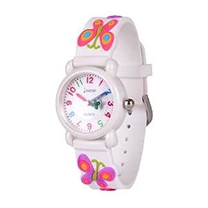 Wolfteeth Starter Watch Girls Analog Wrist Watch Water Resistant School Day Outdoor Sport Watch Butterfly Watchband White 308503